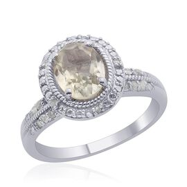 Green Sillimanite (Ovl 1.75 Ct), Diamond Ring in Platinum Overlay Sterling Silver 1.900 Ct.