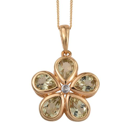 Natural Canary Apatite (Pear), White Topaz Floral Pendant With Chain in 14K Gold Overlay Sterling Silver 3.250 Ct.