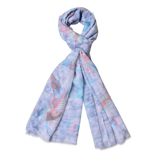 Green, Light and Dark Blue Colour Leaves Pattern White Colour Scarf (Size 180x90 Cm)