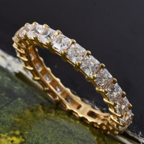J Francis - Asscher Cut 14K Gold Overlay Sterling Silver (Oct) Full Eternity Ring Made with SWAROVSKI ZIRCONIA