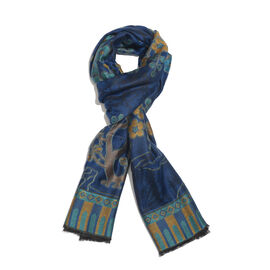 DOD - Blue, Beige and Multi Colour Floral and Tree Branch Pattern Scarf with Fringes (Size 190X70 Cm)