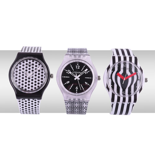 Super Auction- Set of 3 - STRADA Japanese Movement Black and White Colour Stripes, Polka Dots and Floral Pattern Watch with Silicone Strap