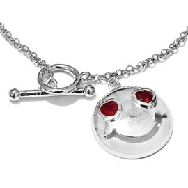 African Ruby Smiling Face with Heart Eyes Smiley Bracelet in Platinum Plated Silver 0.75 Ct (7.5 Inch) 6.36 Gms.