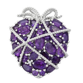 GP Amethyst (Ovl and Rnd), Natural Cambodian Zircon and Kanchanaburi Blue Sapphire Heart Pendant in Platinum Overlay Sterling Silver 7.750 Ct. Silver wt. 8.15 Gms.