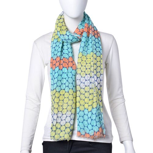 Turquoise, Orange and Multi Colour Honeycomb Pattern Scarf with Fringes (Size 180X90 Cm)