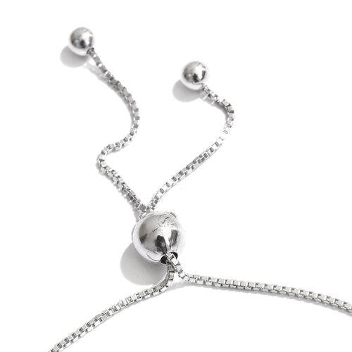 Silver 0.25 Carat Diamond Adjustable Heart Bracelet in Platinum Overlay (Size 6.5)
