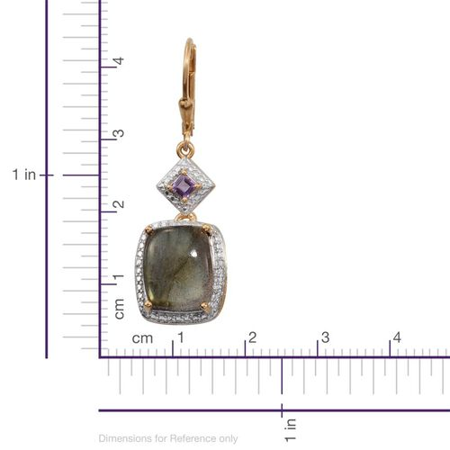 Labradorite (Cush), Amethyst Lever Back Earrings in 14K Gold Overlay Sterling Silver 14.300 Ct.