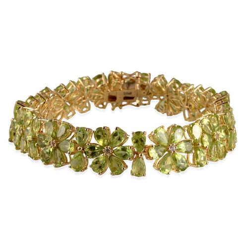 AA Hebei Peridot (Pear), White Topaz Bracelet (Size 8) in 14K Gold Overlay Sterling Silver 41.250 Ct.