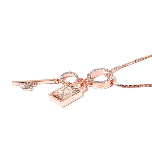 Simulated White Diamond and White Austrian Crystal Lock and Key Necklace (Size 29) in Rose Gold Tone
