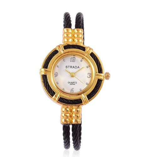 STRADA Japanese Movement Black Colour Bangle Watch in Gold Tone with Stainless Steel Back