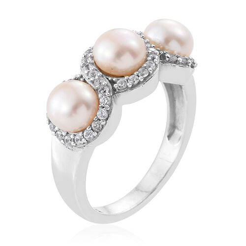 Pearl and Natural Cambodian Zircon Silver Infinity Ring in Platinum Overlay