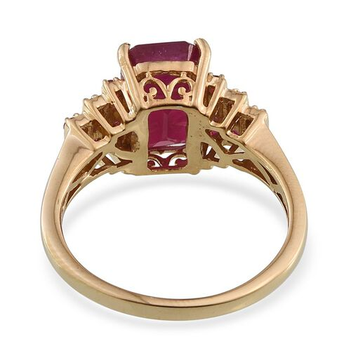 African Ruby (Oct 5.50 Ct), Burmese Ruby Ring in 14K Gold Overlay Sterling Silver 6.000 Ct.