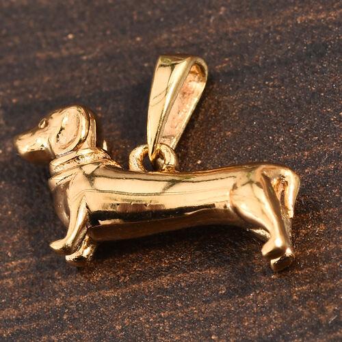 14K Gold Overlay Sterling Silver Dachshund Dog Charm Pendant
