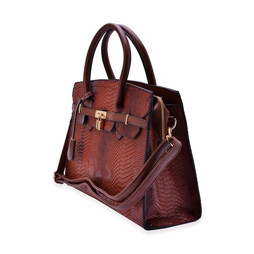 Belgravia Chocolate Snake Embossed Tote Bag with Adjustable and Removable Shoulder Strap (Size 34x28x10 Cm)