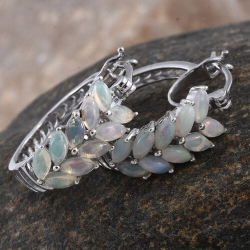 Ethiopian Welo Opal (Mrq) Hoop Earrings (with Clasp Lock) in Platinum Overlay Sterling Silver 1.500 Ct. Silver wt. 5.14 Gms.