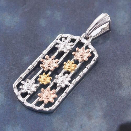 Yellow Gold, Rose Gold and Platinum Overlay Sterling Silver Abacus Floral Pendant