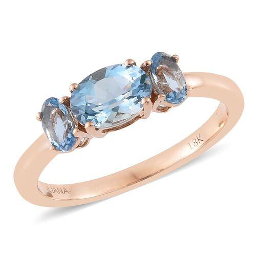 ILIANA 18K Rose Gold 1 Carat AAA Santa Maria Aquamarine Oval Trilogy Ring Unique Design