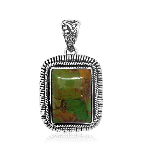 Green Mojave Turquoise (Oct) Pendant in Sterling Silver 13.630 Ct.