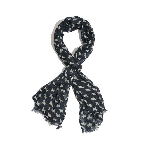50% Wool and 50% Modal Dog Pattern Navy Blue and White Colour Woven Scarf (Size 175x70 Cm)