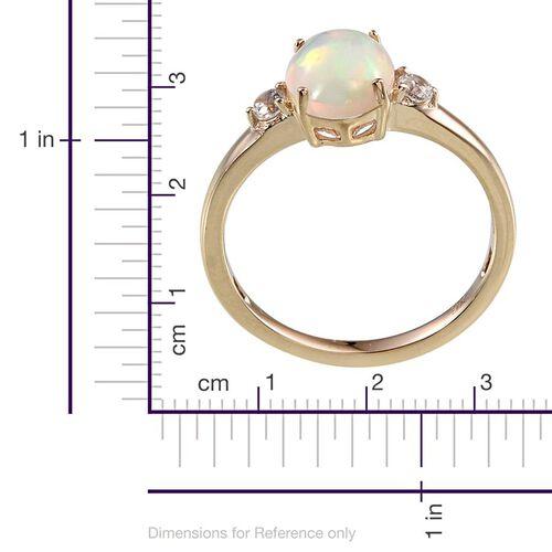 9K Y Gold Ethiopian Welo Opal (Ovl), Natural Cambodian Zircon Ring  1.500 Ct.