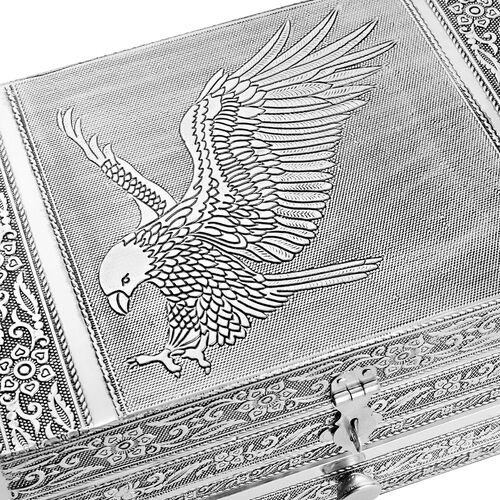 Handcrafted Eagle Embossed Jewellery Box with Drawer (Size 22X15X10 Cm)