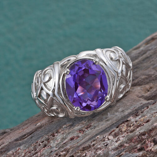 Lavender Alexite (Ovl) Solitaire Ring in ION Plated Platinum Bond