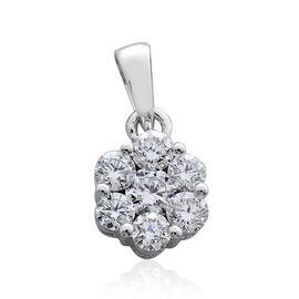 RHAPSODY 950 Platinum 0.50 Carat Diamond 7 Stone Floral Pendant VS E-F, IGI Certified