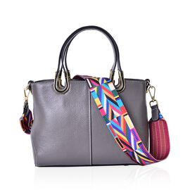 100% Genuine Leather Grey Colour Tote Bag with Multi Colour Removable Shoulder Strap (Size 24x19x11.5)
