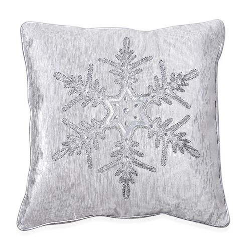 Beaded and Embroidered Snowflake Pattern Grey Colour Cushion Made with Cotton, Rayon, Linen and Other Fibre (Size 45x45 Cm)