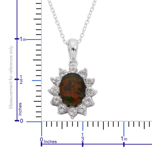 Canadian Ammolite (Ovl 1.50 Ct), White Topaz Pendant With Chain in Rhodium Plated Sterling Silver 2.500 Ct.