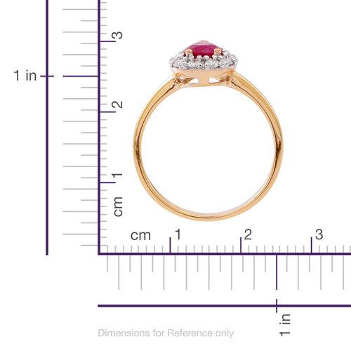 ILIANA 18K Y Gold AAAA Burmese Ruby Diamond (SI/G-H) Ring 1.150 Ct.