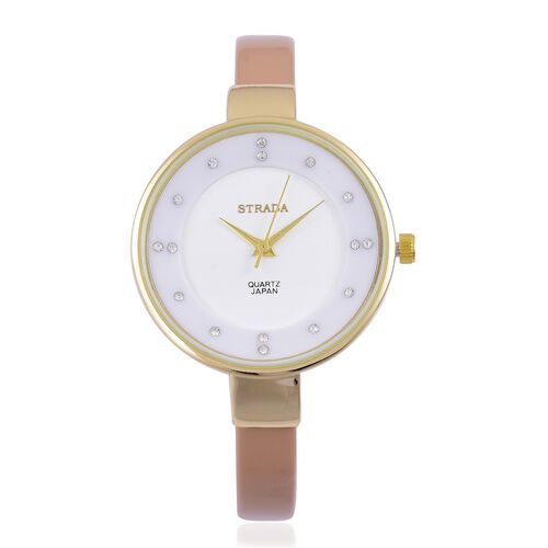 STRADA Japanese Movement White Austrian Crystal Studded White Dial Water Resistant Watch in Yellow Gold Tone with Stainless Steel Back and Coffee Colour Strap