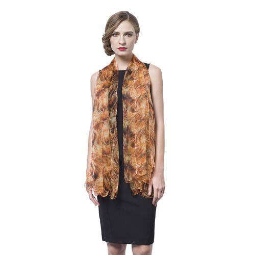 40% Mulberry Silk Orange, Black and Multi Colour Abstract Pattern Scarf (Size 170X105 Cm)