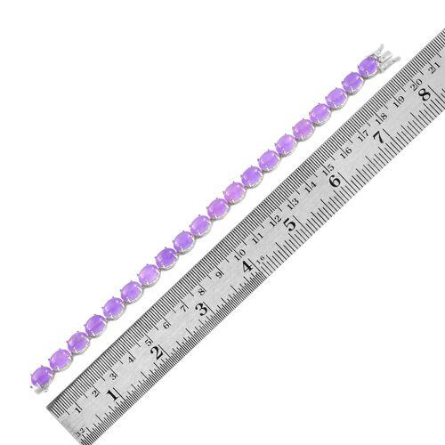 Purple Jade (Ovl) Bracelet (Size 7.5) in Platinum Overlay Sterling Silver 47.000 Ct.