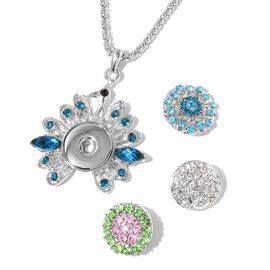 AAA Pink, Blue, Green, Black and White Austrian Crystal Peacock Pendant With Chain (Size 32 with 3 inch Extender) with 3 Interchangeable Charms in Silver Tone
