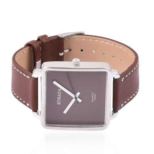 Designer Inspired - STRADA Japanese Movement Chocolate Colour Dial Watch in Silver Tone with Stainless Steel Back and Dark Chocolate Colour Strap