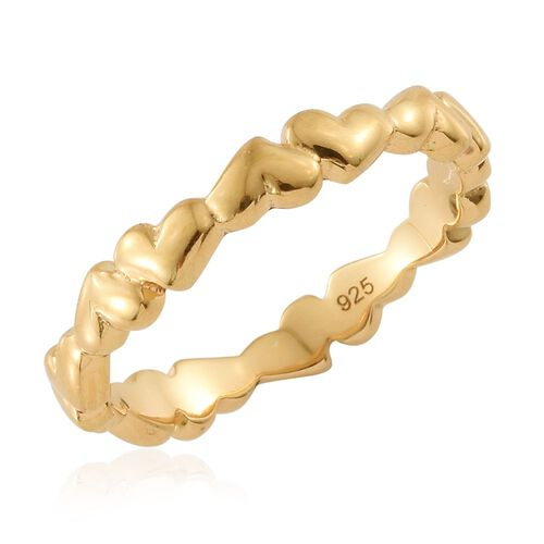 Forever Love Heart Silver Stacker Ring in Gold Overlay, Silver wt. 2.74 Gms