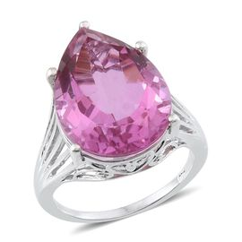Kunzite Colour Quartz (Pear) Ring in Platinum Overlay Sterling Silver 17.000 Ct.