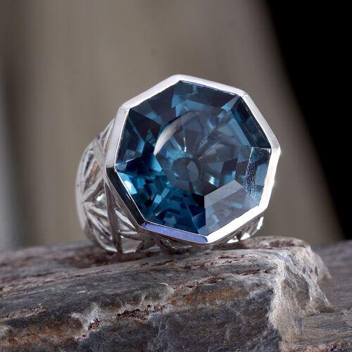 Indicolite Quartz (Octillion) Ring in Platinum Overlay Sterling Silver 16.000 Ct. Silver wt 7.60 Gms.