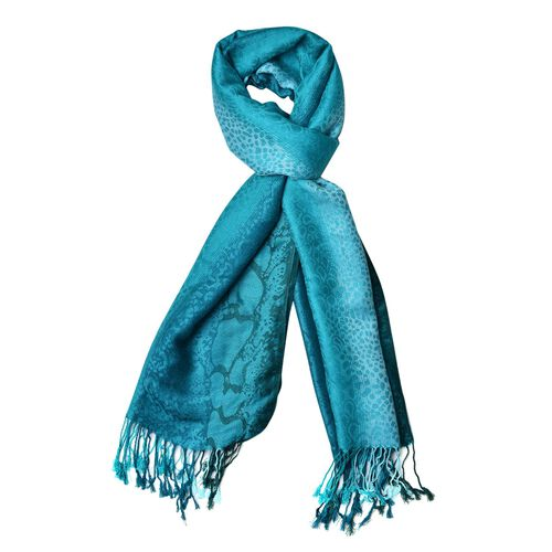 Royal Green and Blue Colour Leopard Pattern Scarf with Tassels (Size 180X65 Cm)