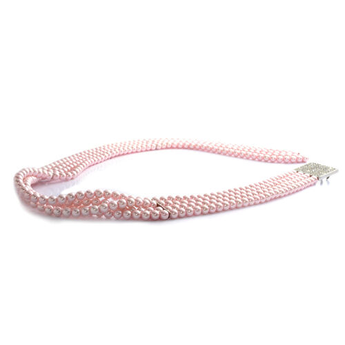 Pink Glass Pearl and White Austrian Crystal Stretchable Belt (Size 32) in Silver Tone