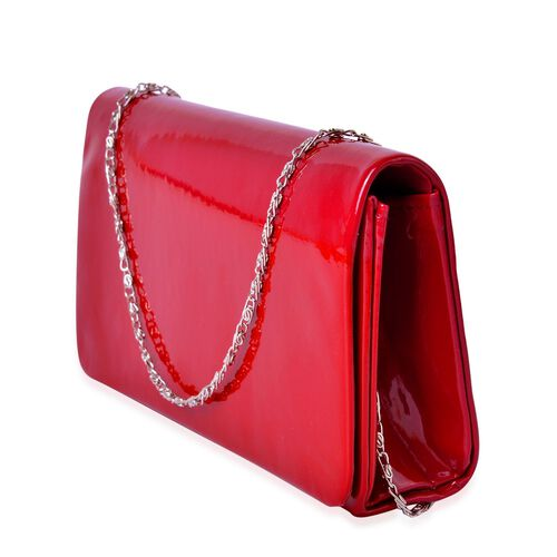Red Wine Colour Clutch Bag with Chain Strap (Size 21X12X5 Cm)