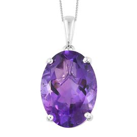AAA Lusaka Amethyst (Ovl) Pendant with Chain in Platinum Overlay Sterling Silver 11.250 Ct.