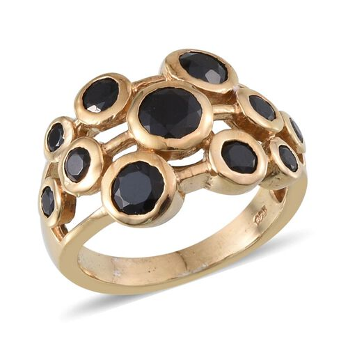 Boi Ploi Black Spinel (Rnd 0.50 Ct) Ring in 14K Gold Overlay Sterling Silver 2.150 Ct.
