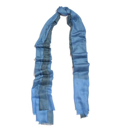 100% Cashmere Mediterrean Blue Colour Scarf (Size 200x70 Cm)