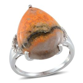Bumble Bee Jasper (Pear 11.25 Ct), Diamond Ring in Platinum Overlay Sterling Silver 11.260 Ct.