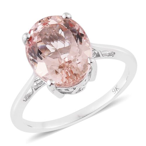 9K White Gold AA Marropino Morganite (Ovl) Solitaire Ring 4.250 Ct.