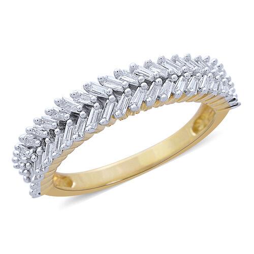 Super Auction- 9K Yellow Gold Diamond (Bgt) Ring (I1-I2/G-H) 0.500 Ct.
