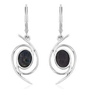 Spectrolite (Ovl) Lever Back Earrings in Platinum Overlay Sterling Silver 2.000 Ct.