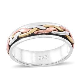 Designer Inspired - Tri Colour Sterling Silver Spinner Ring